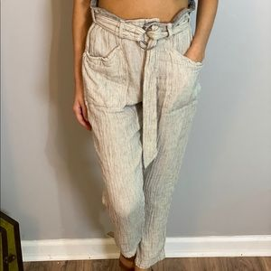 cream and black striped free people pants